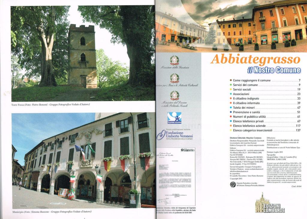 1 Pagina interna della Guida Noi Cittadini - Abbiategrasso (Torre della Fossa e Municipio Piazza Marconi) Foto Vedute D